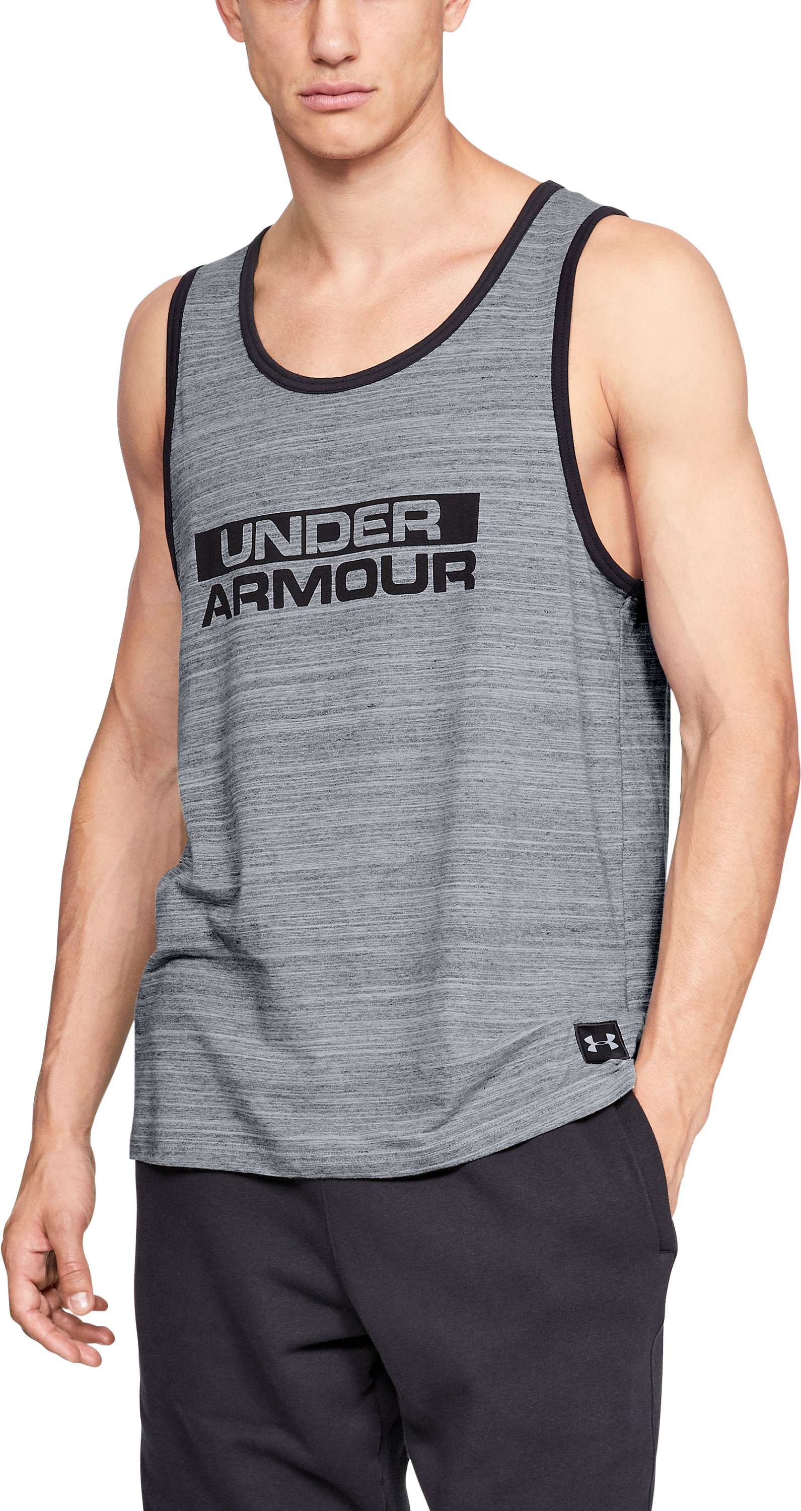 Men's UA Sportstyle Cotton Tank, Steel, zoomed