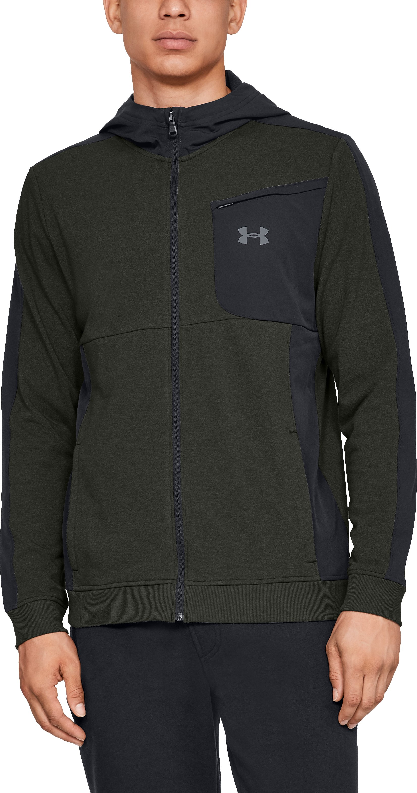 Men's UA Microthread Terry Full Zip Hoodie, Artillery Green, zoomed