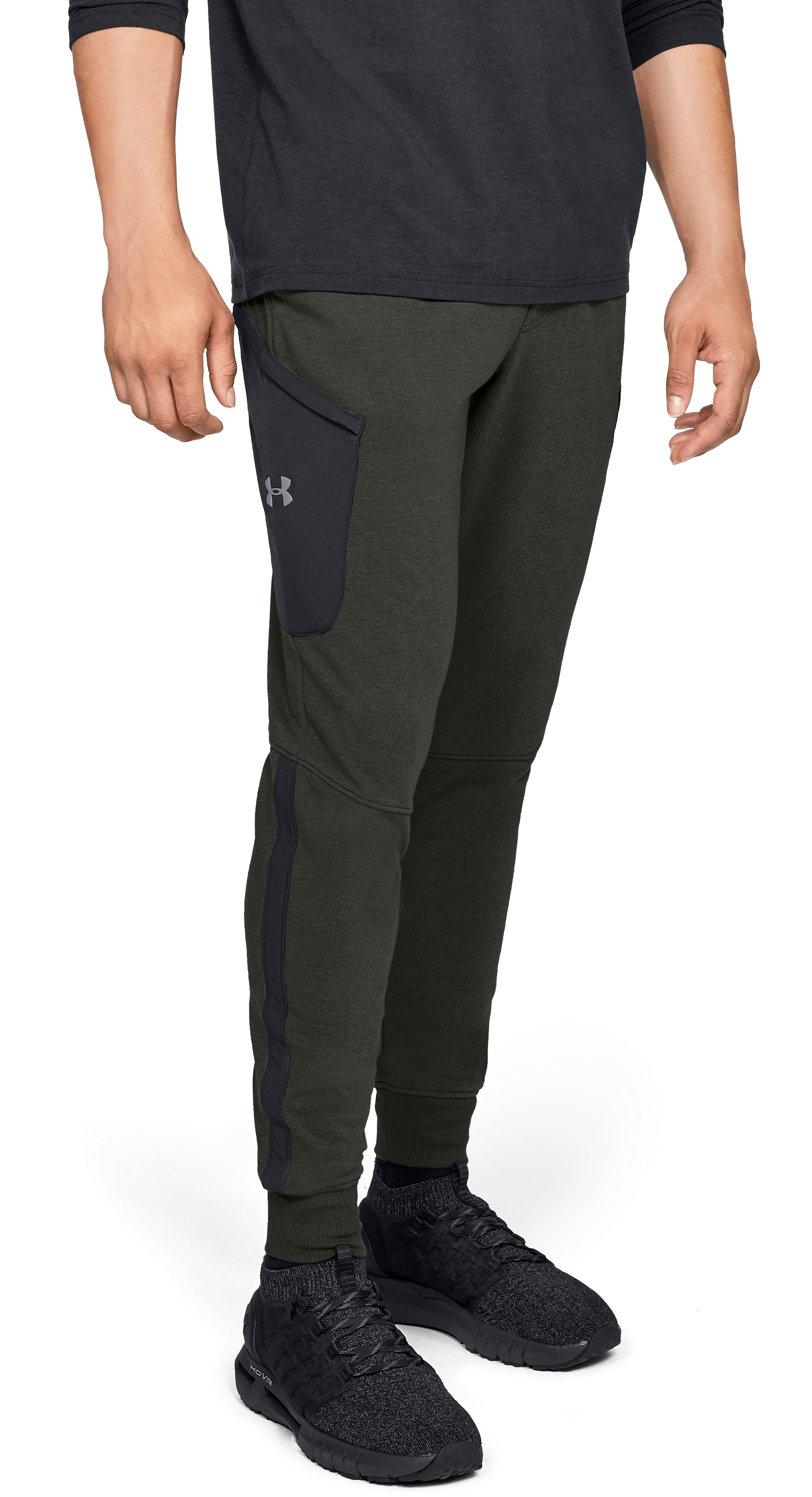 Men's UA Microthread Terry Joggers, Artillery Green, zoomed