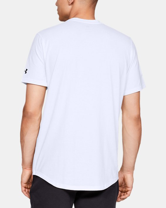 Men's UA Sportstyle Woven Script T-Shirt, White, pdpMainDesktop image number 2