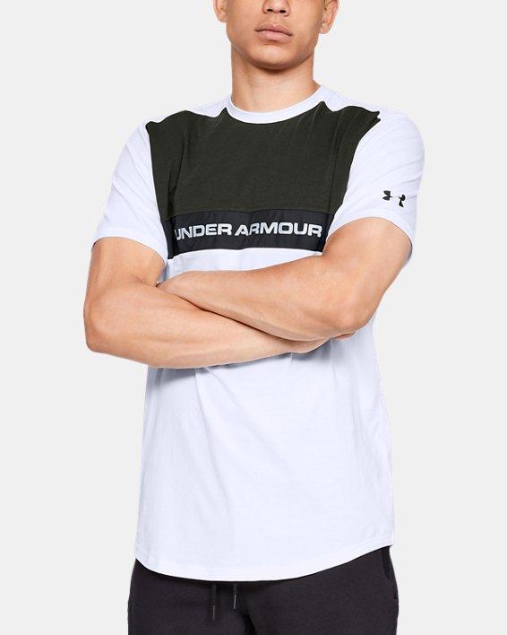 Men's UA Sportstyle Woven Script T-Shirt, White, pdpMainDesktop image number 0