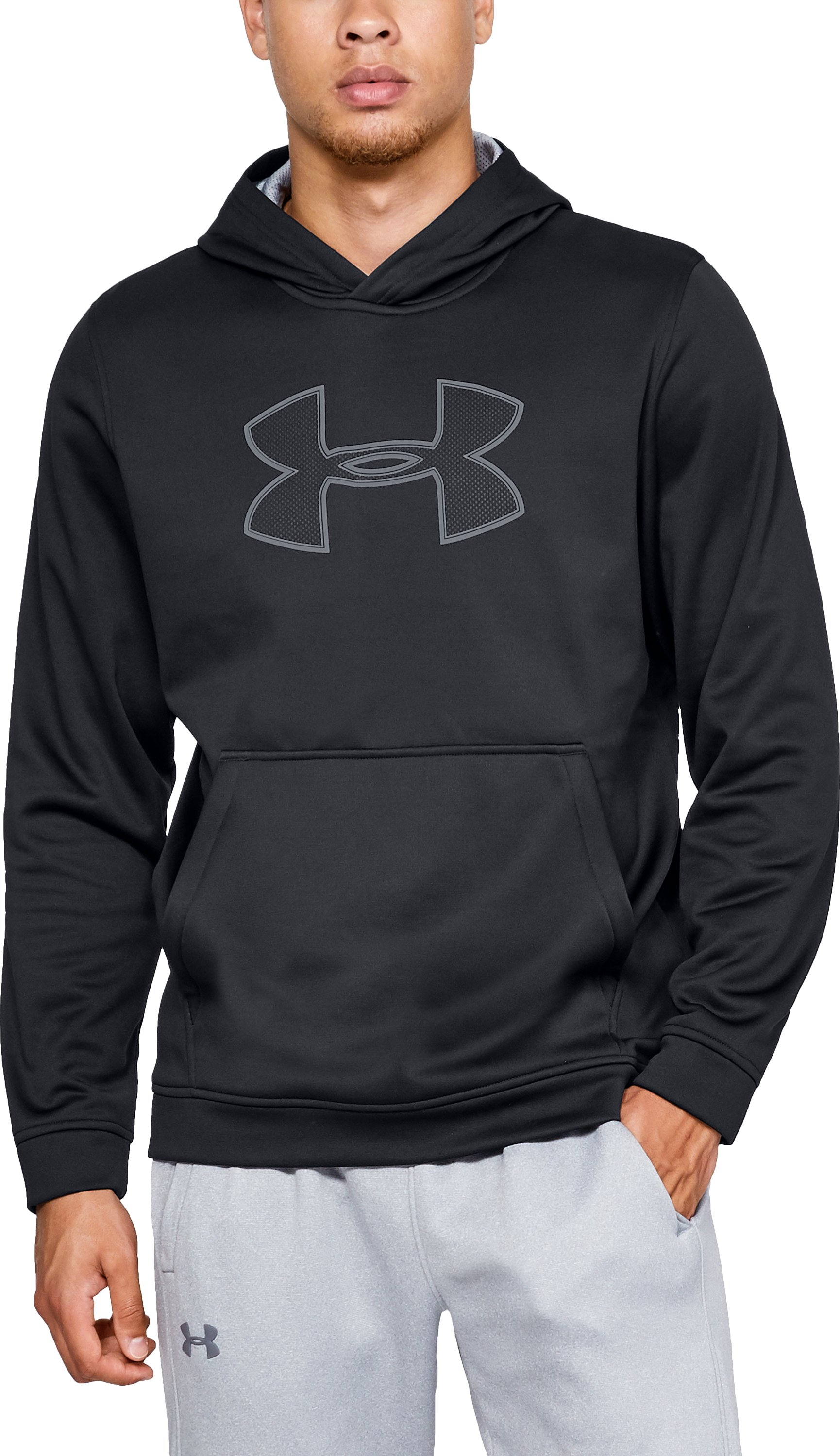 Men's Armour Fleece® Graphic Hoodie, Black , zoomed