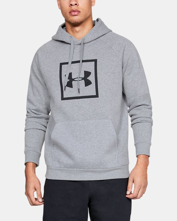 Men's UA Rival Fleece Logo Hoodie, Gray, pdpMainDesktop image number 0