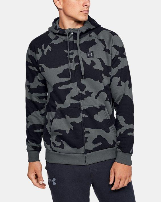 Men's UA Rival Fleece Camo Full Zip Hoodie, Gray, pdpMainDesktop image number 0