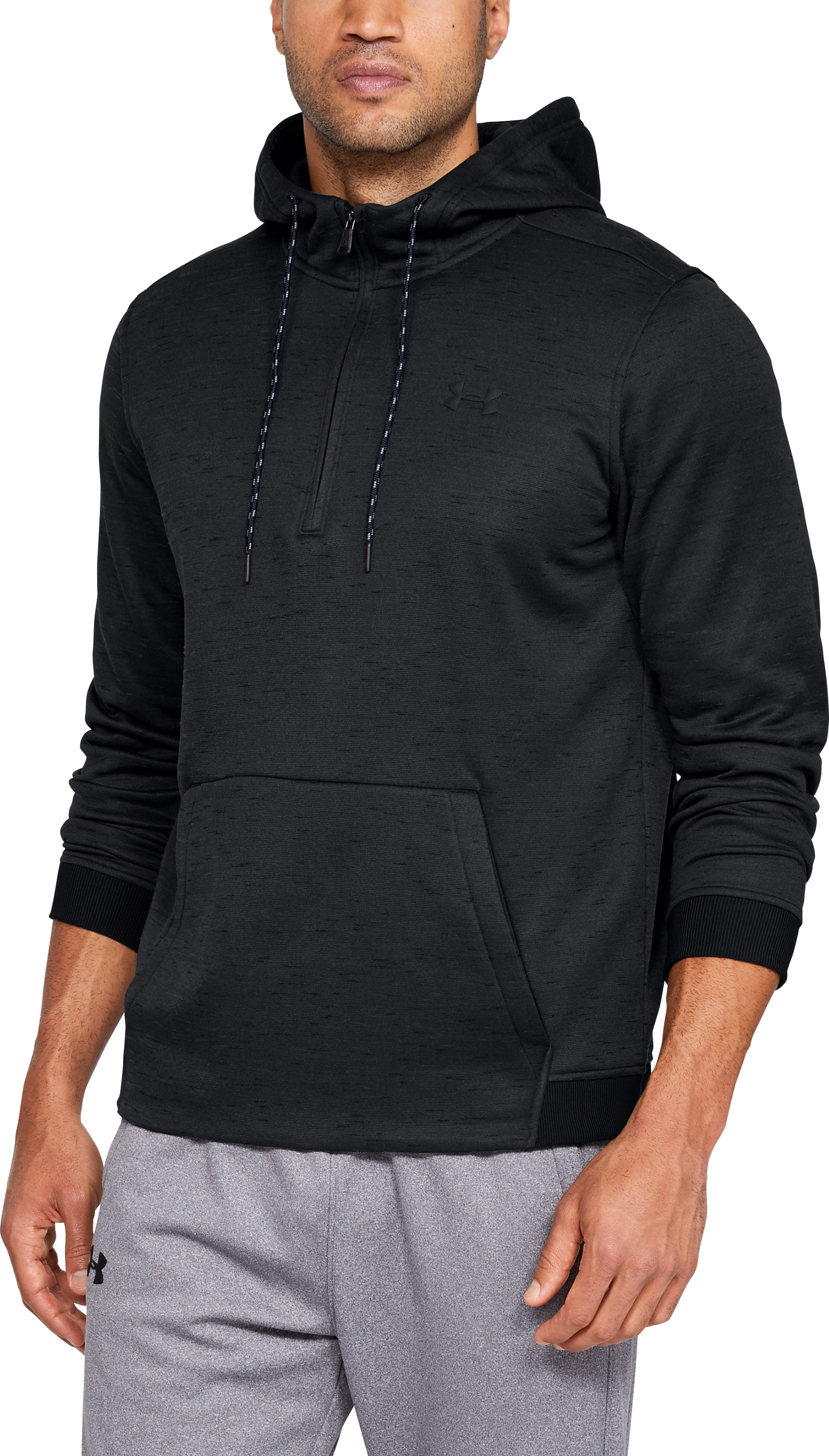 Men's Armour Fleece® ½ Zip Hoodie, Black , zoomed