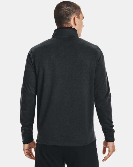Men's UA Storm SweaterFleece Heather Snap Mock, Black, pdpMainDesktop image number 2