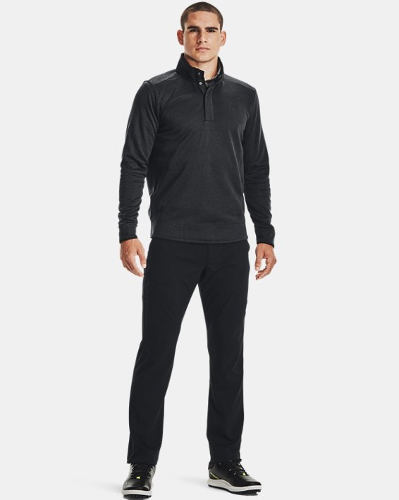Men's UA Storm SweaterFleece Heather Snap Mock, Black, pdpMainDesktop image number 1