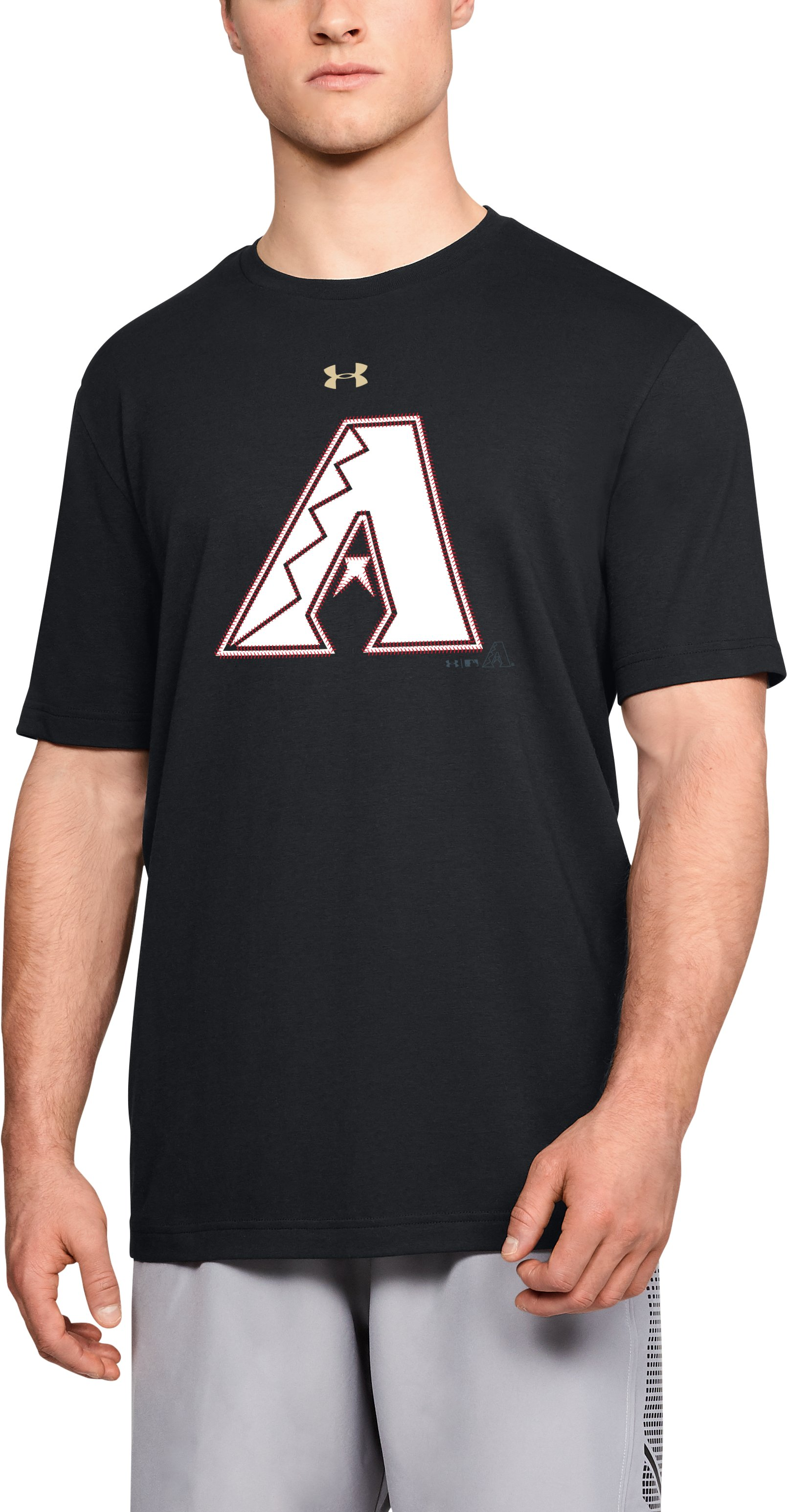 Men's MLB UA Stitch Logo Short Sleeve, MLB_ARI_Black, zoomed