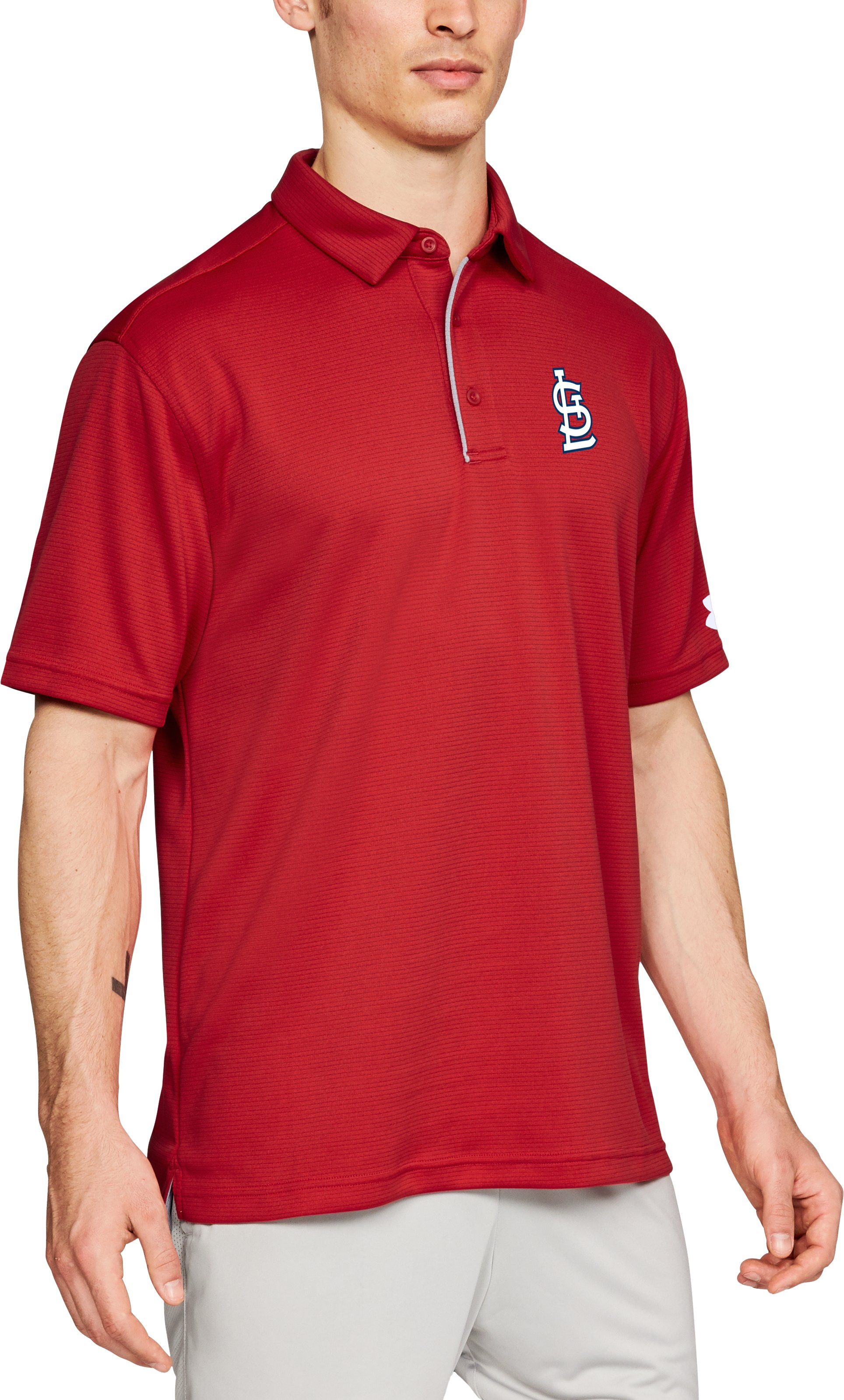 Men's Tech Chest Polo, MLB_STL_Scarlet, zoomed