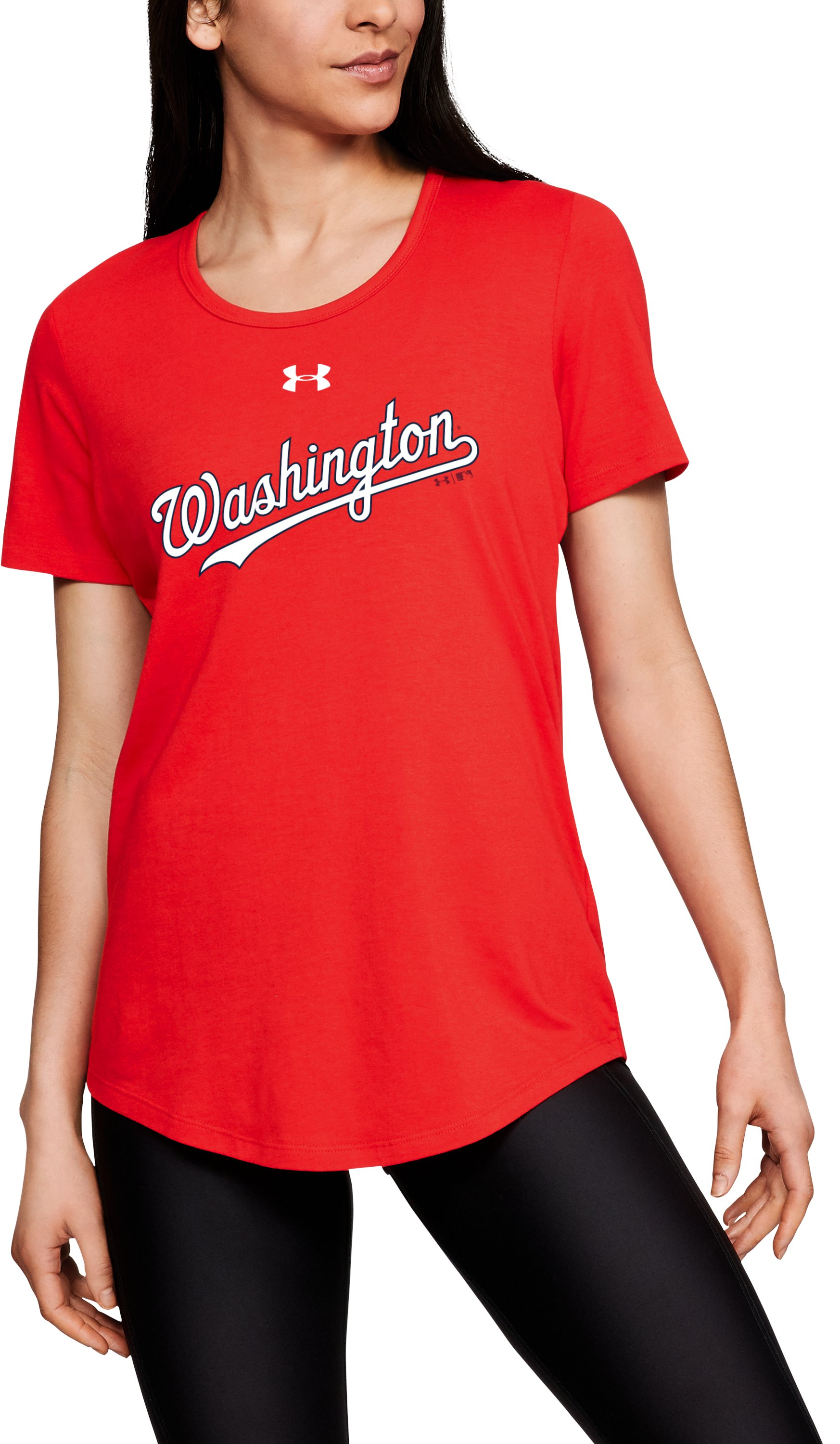 Women's MLB UA Team Short Sleeve, MLB_WSH_Scarlet, zoomed