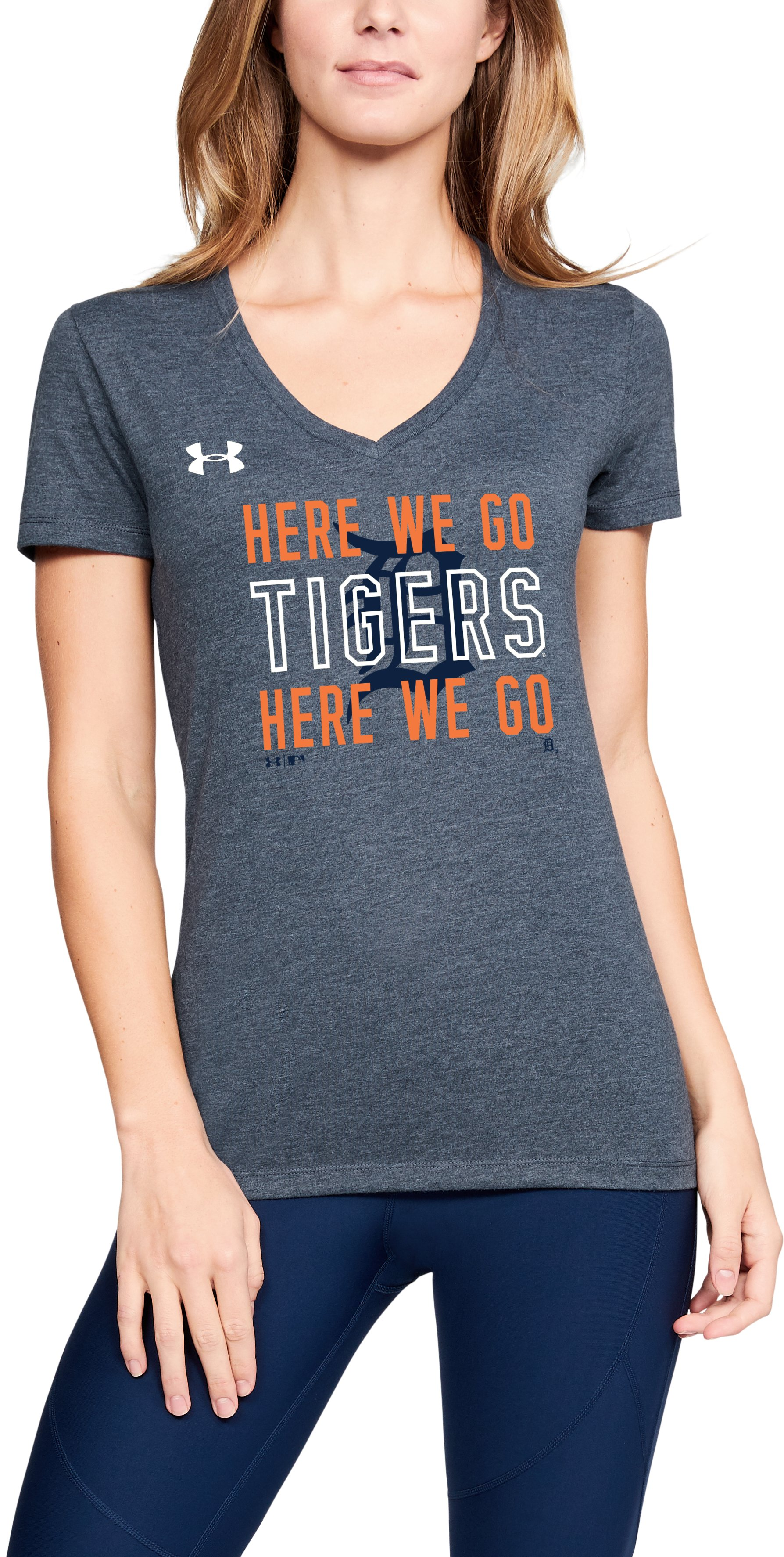 Women's MLB UA Tri-Blend Chant V-neck Short Sleeve, MLB_DET_Night Navy, zoomed