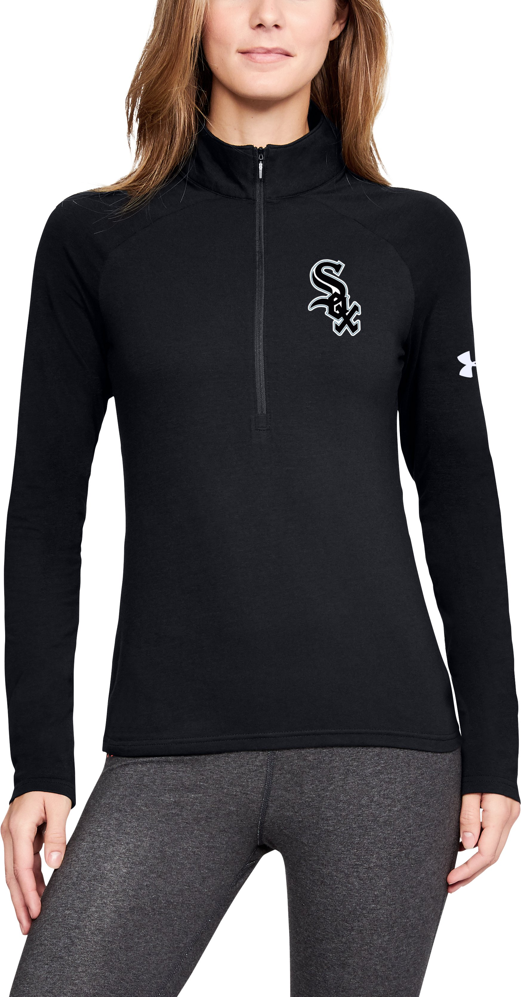 Women's MLB UA Left Chest ½ Zip, MLB_CWS_Black, zoomed