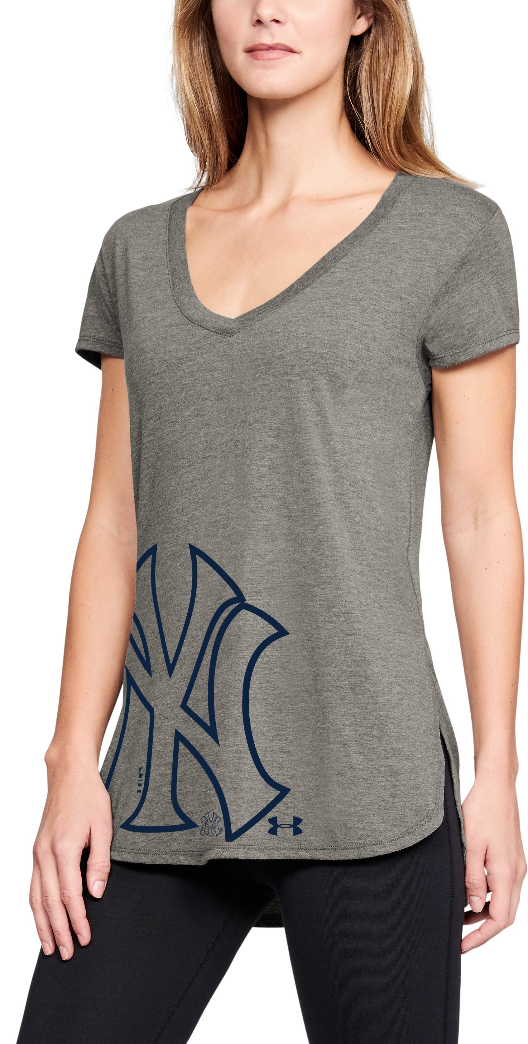 Women's MLB UA Tri-Blend Offset Short Sleeve, MLB_NYY_Steel Heather, zoomed