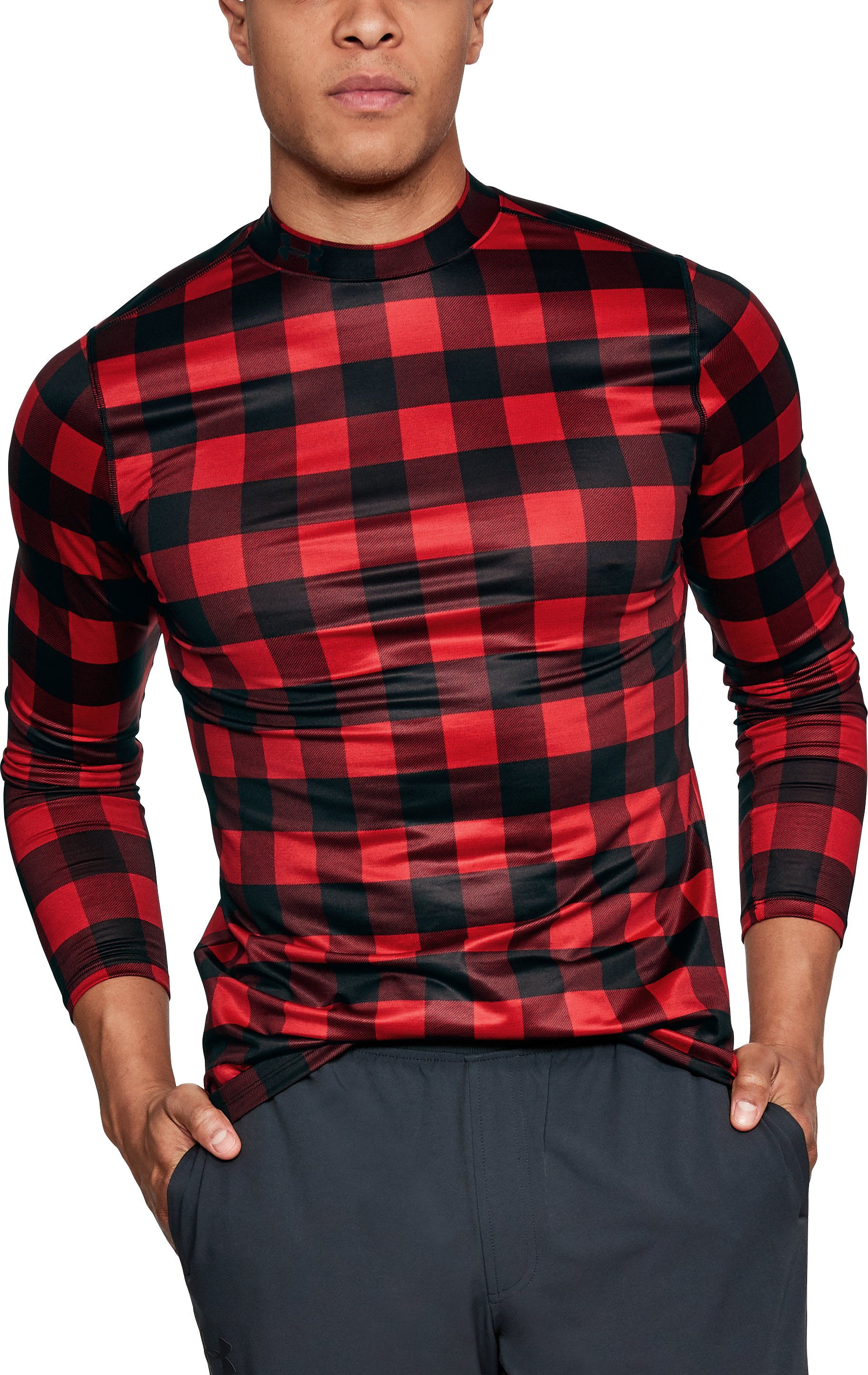 Men's ColdGear® Armour Plaid Fitted Mock, Red, zoomed