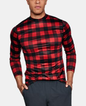 New Arrival Men's ColdGear® Armour Plaid Fitted Mock  1 Color $59.99