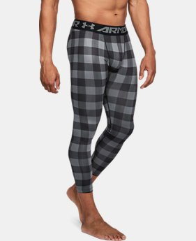 New Arrival Men's UA ColdGear® Armour Plaid Leggings  1 Color $59.99