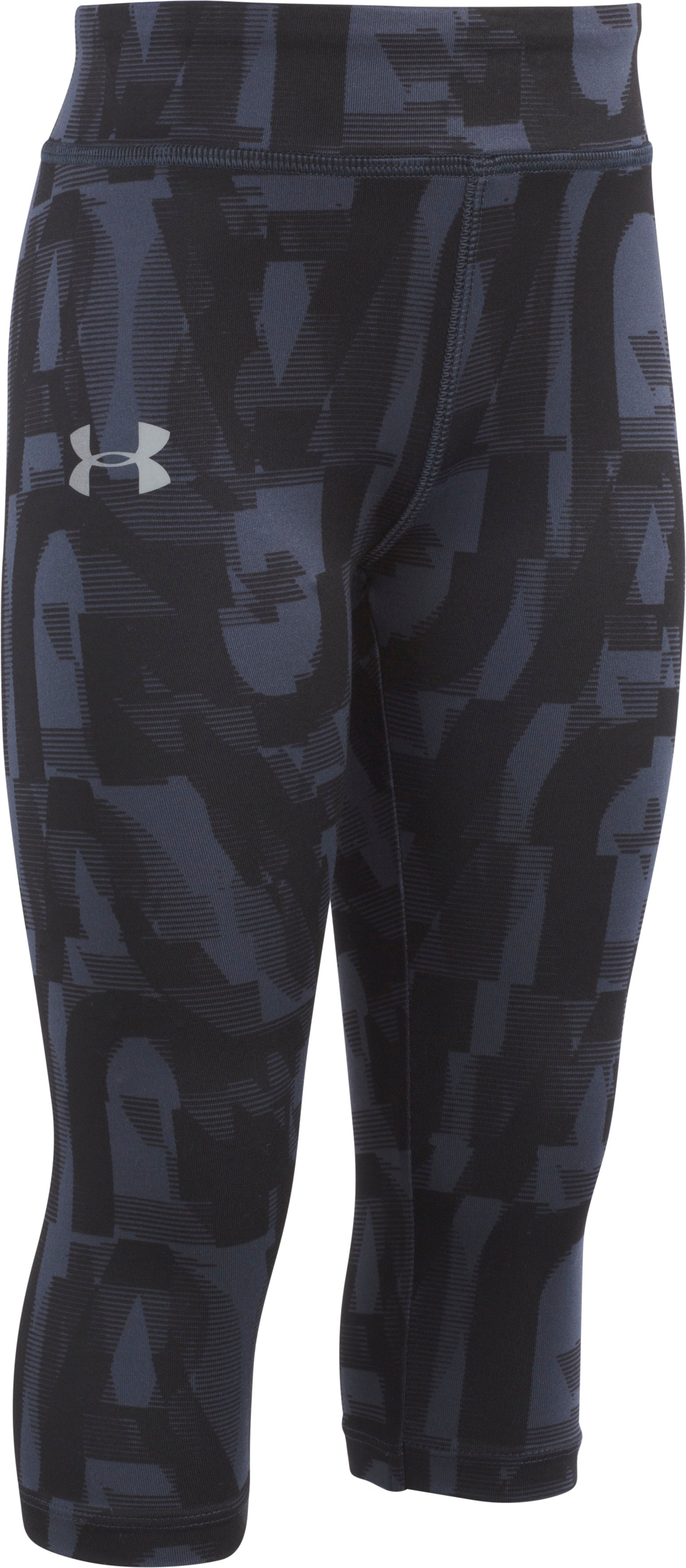 Girls' Pre-School UA Jumbo Linear Wordmark Capri, Black , Laydown
