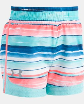 New Arrival Girls' Pre-School UA Water Stripe Run Shorts FREE U.S. SHIPPING 1  Color Available $22