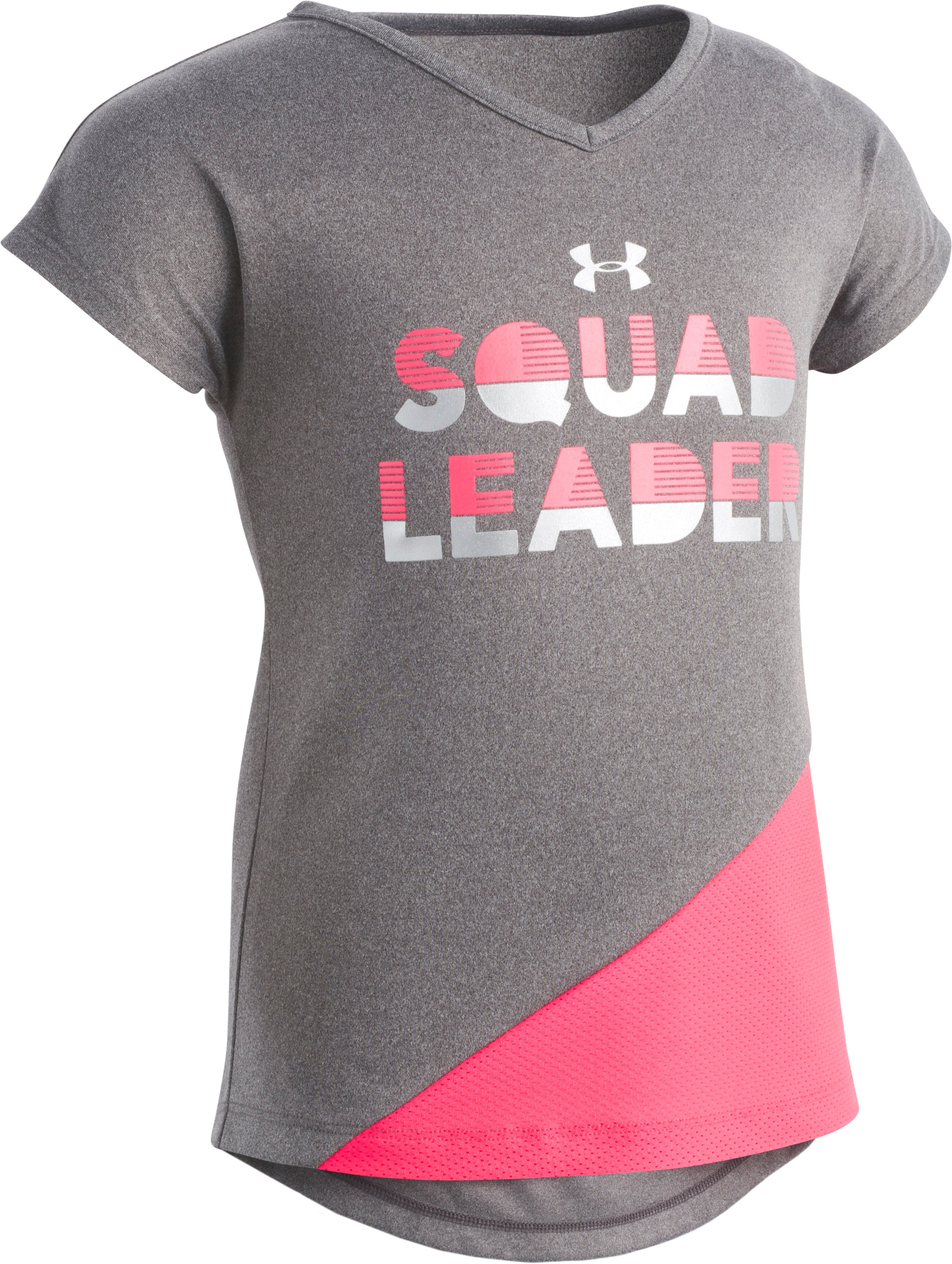 Girls' Toddler UA Squad Leader T-Shirt , Charcoal Medium Heather, Laydown
