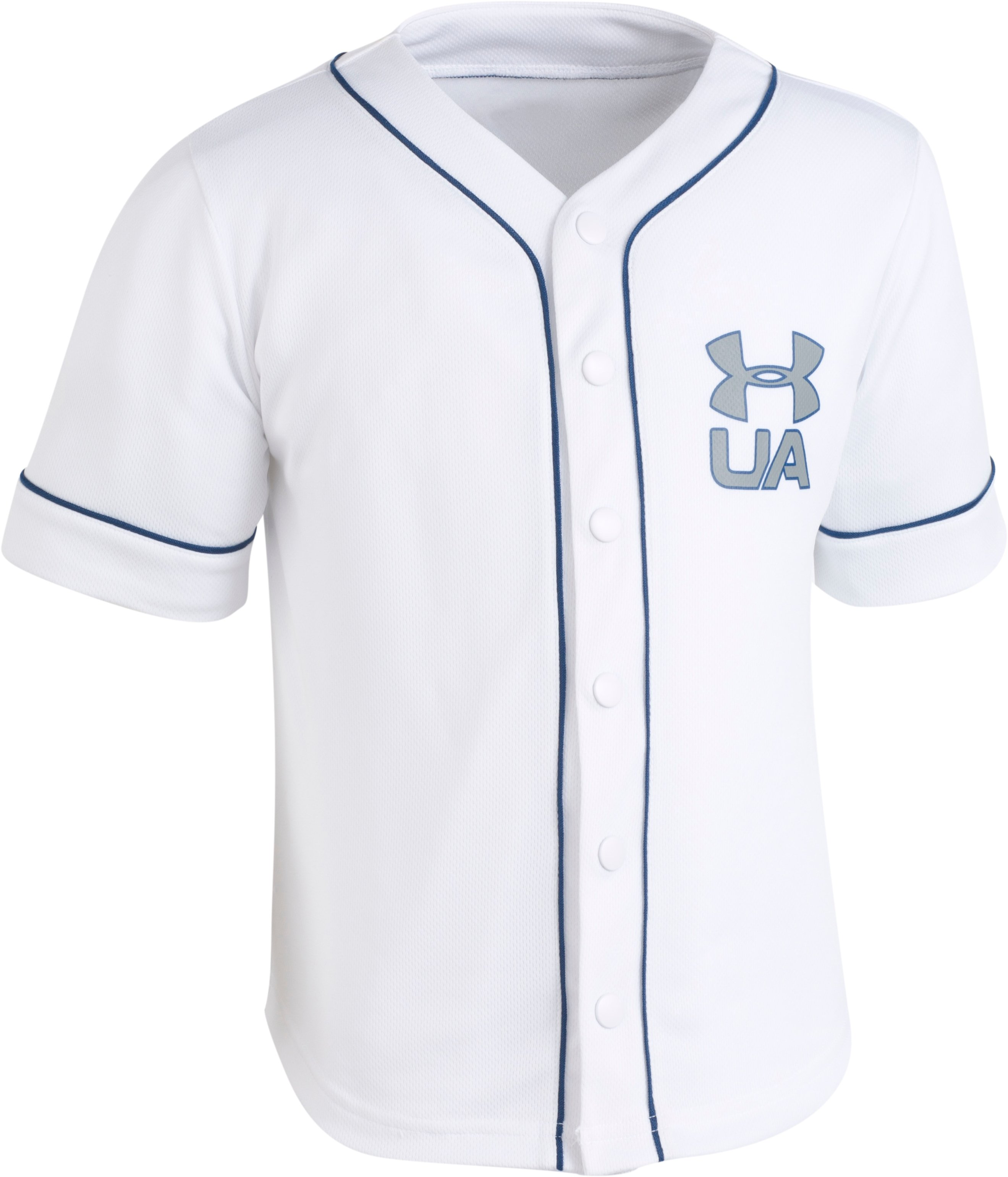 Boys' Toddler UA Homerun Baseball Jersey T-Shirt, White, Laydown