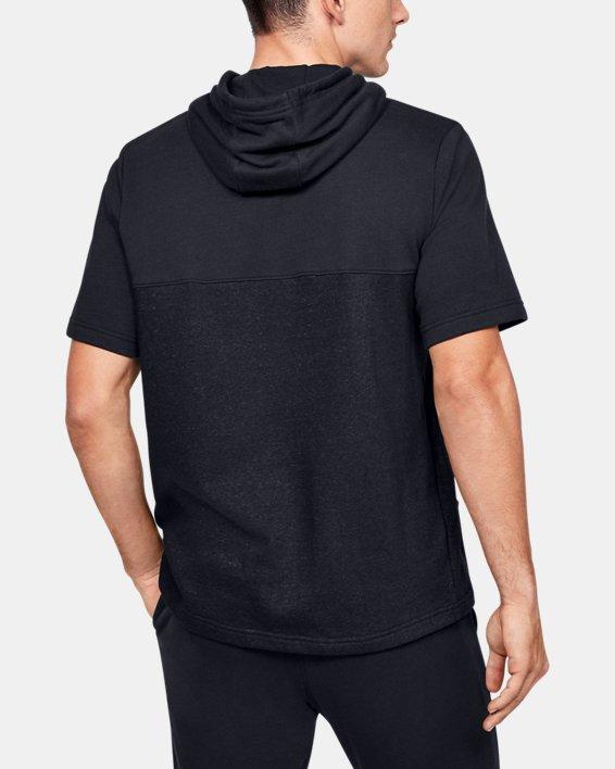 Men's UA Sportstyle Short Sleeve Hoodie, Black, pdpMainDesktop image number 2