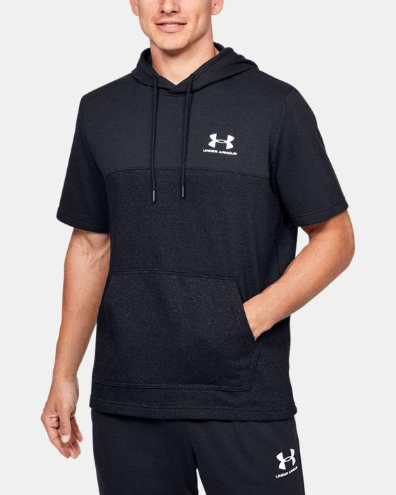 Men's UA Sportstyle Short Sleeve Hoodie, Black, pdpMainDesktop image number 0
