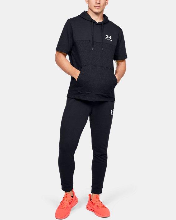 Men's UA Sportstyle Short Sleeve Hoodie, Black, pdpMainDesktop image number 1