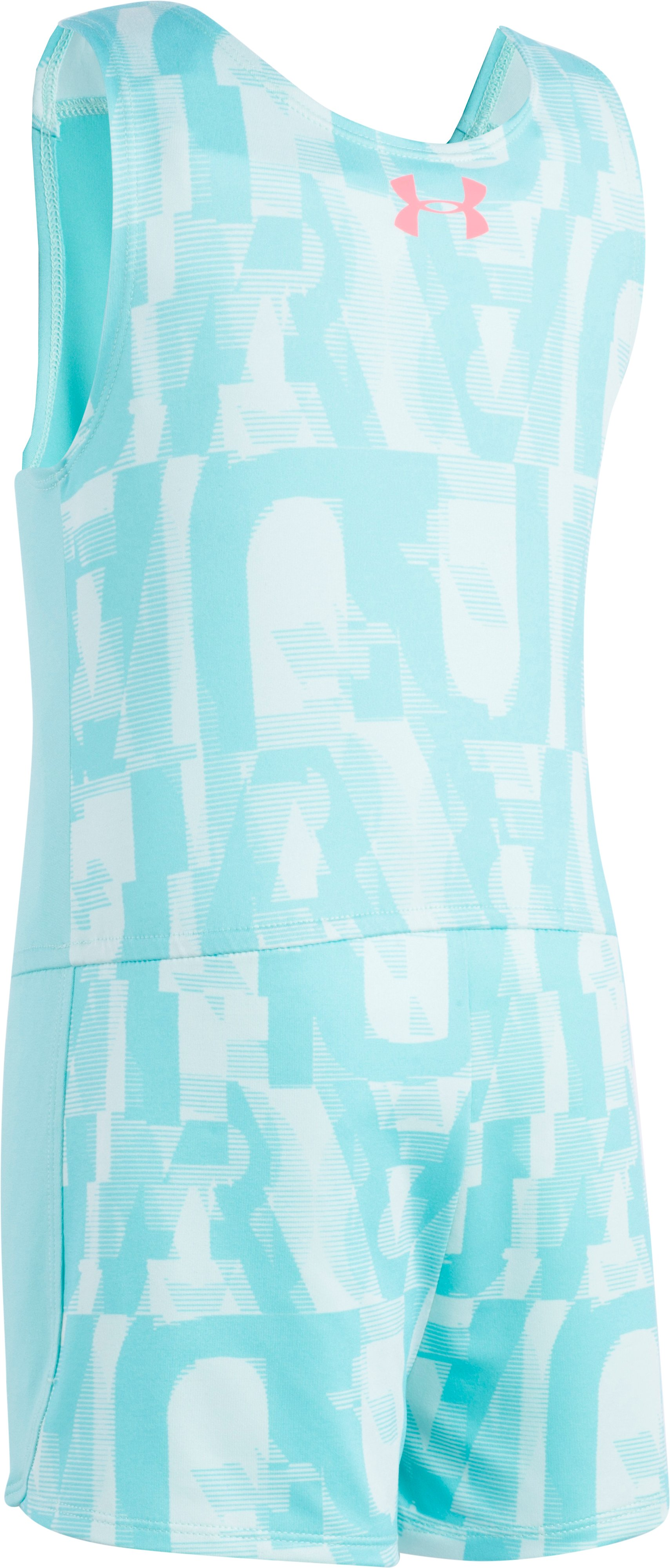 Girls' Toddler UA Jumbo Linear Wordmark Romper , TROPICAL TIDE,