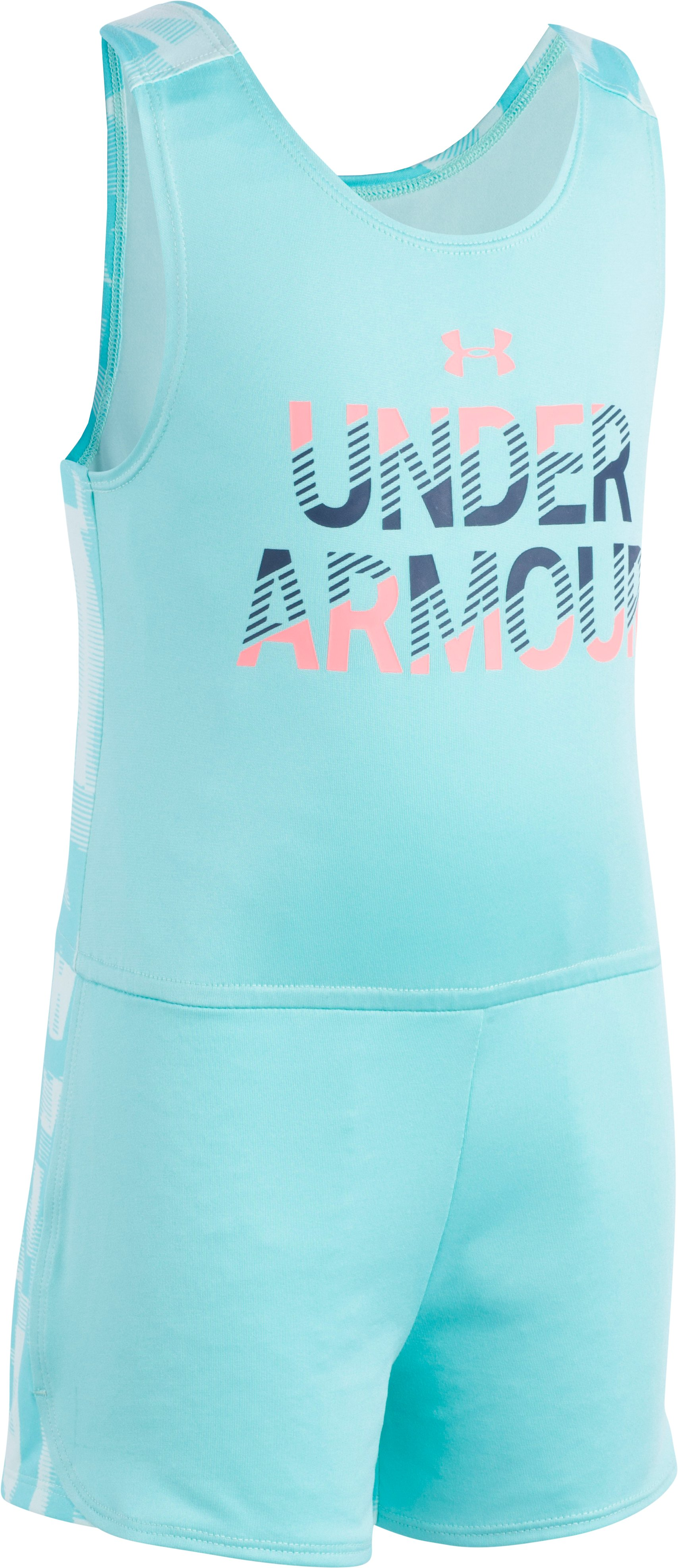 Girls' Toddler UA Jumbo Linear Wordmark Romper , TROPICAL TIDE