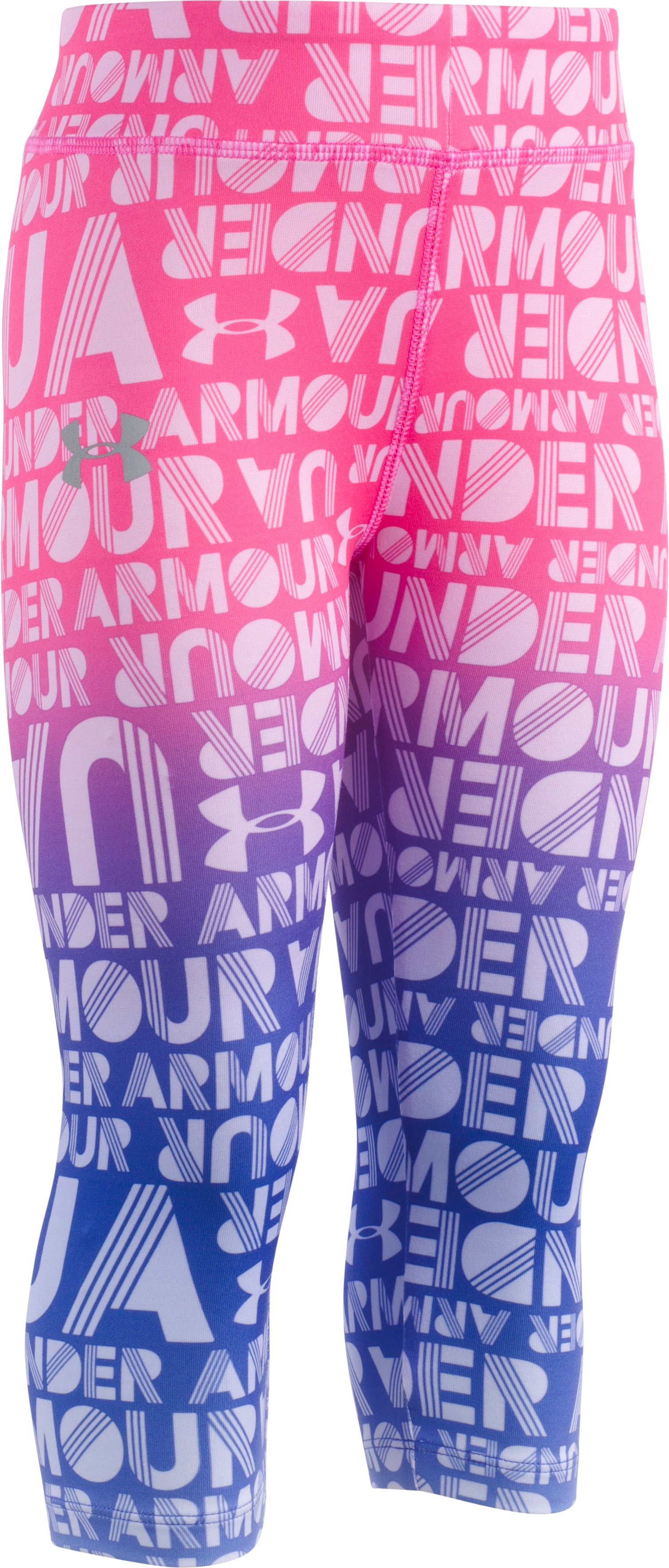 Girls' Toddler UA Gradient Wordmark Capris, Penta Pink, Laydown