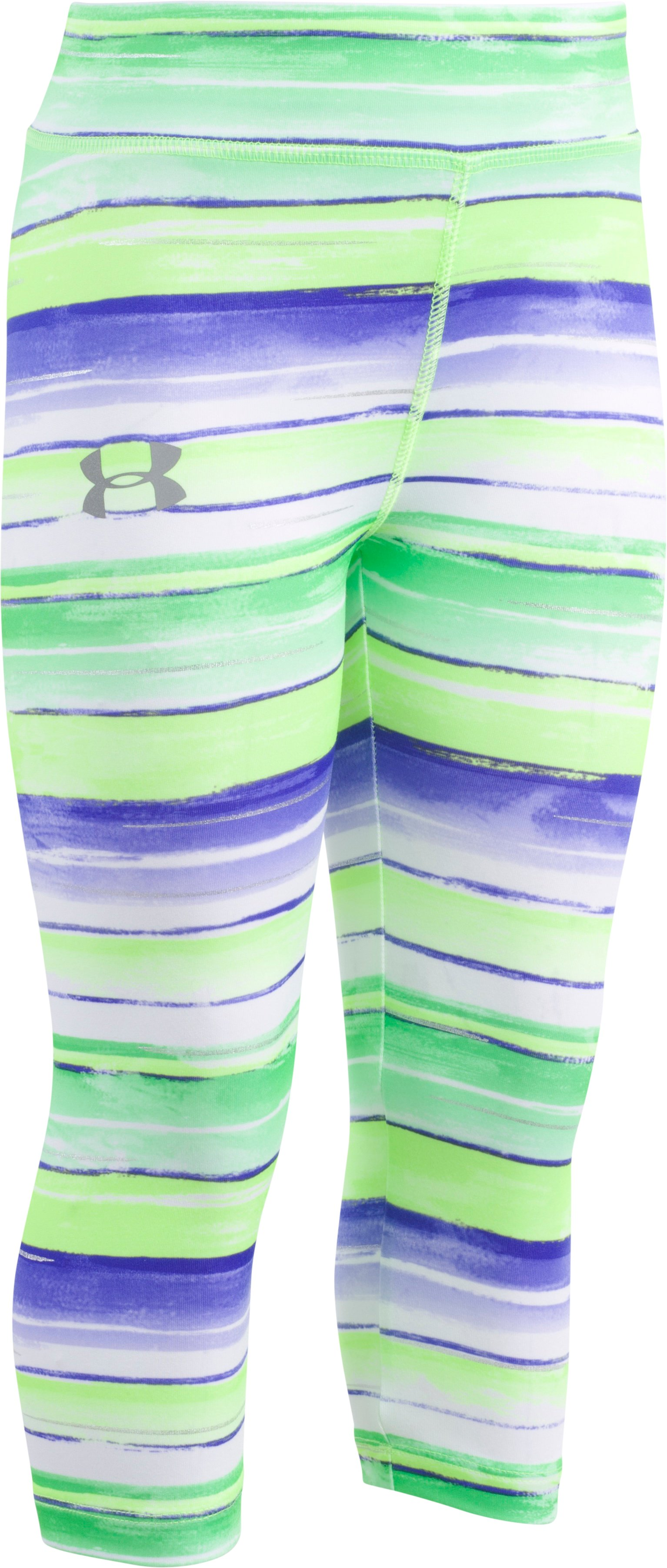 Girls' Infant UA Water Stripe Capri , Quirky Lime, zoomed