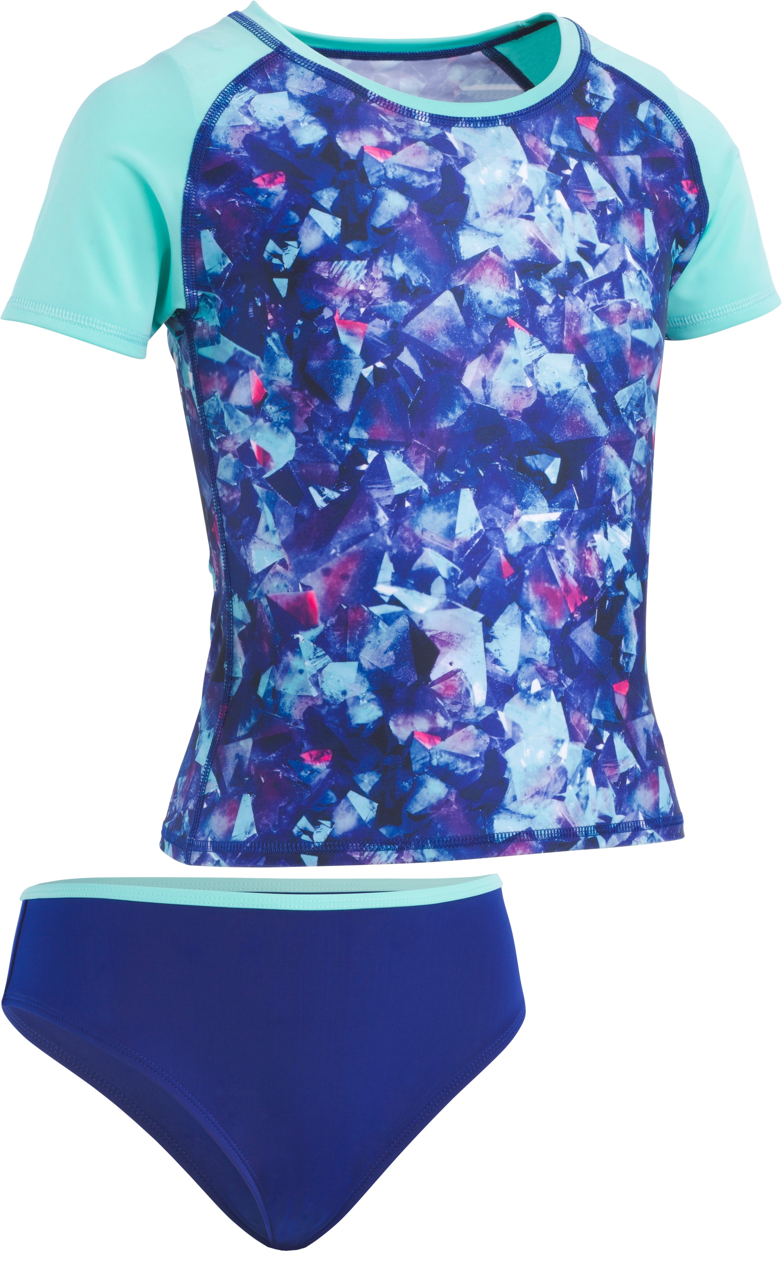 Girls' UA Metaquartz Rashguard Set, Formation Blue, zoomed