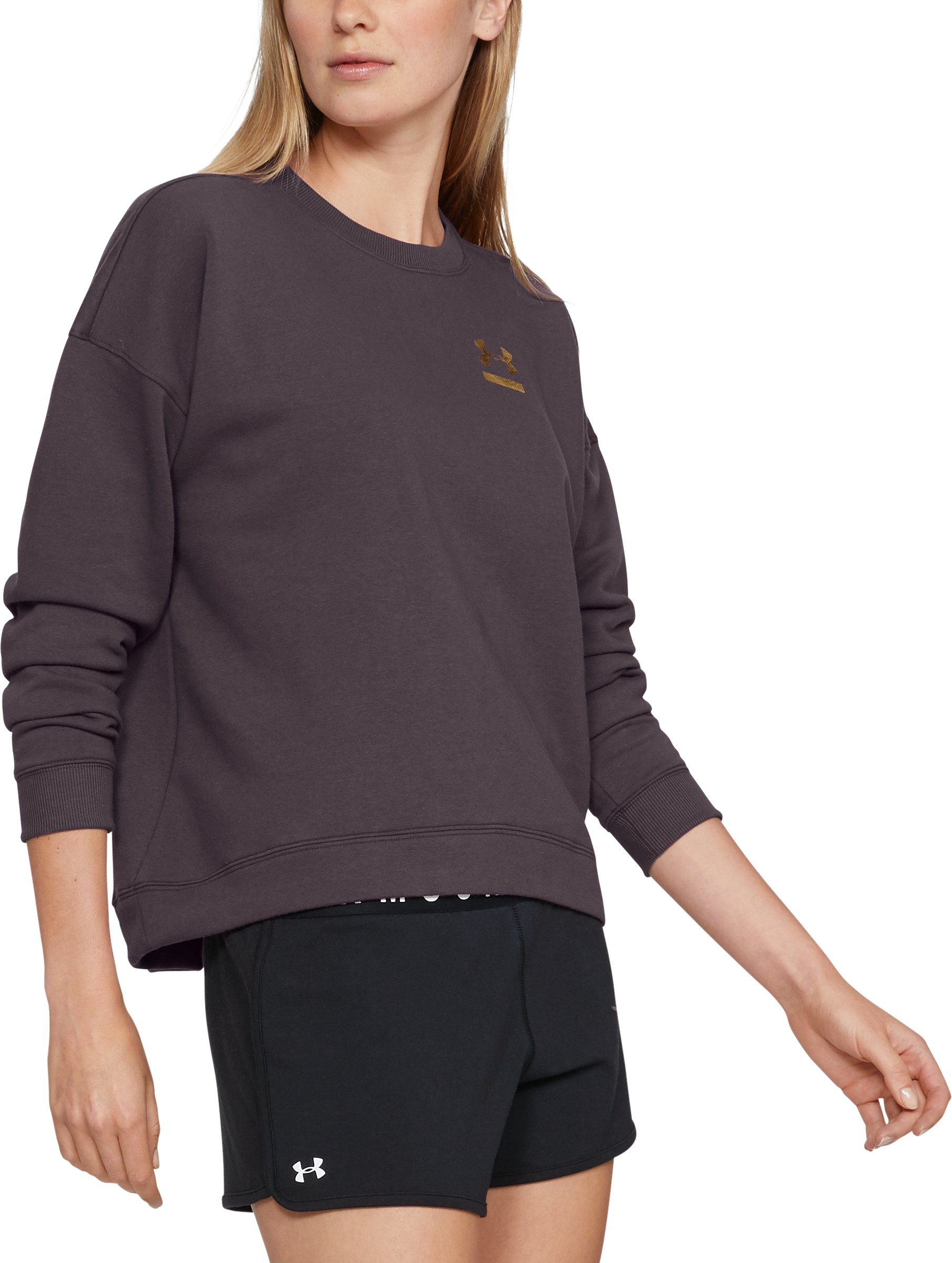 Women's UA 24/7 Fleece Crew, Pixel Purple, zoomed