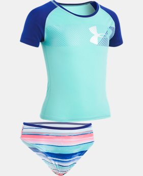 New Arrival Girls' Pre-School UA Hybrid Big Logo Rashguard Set  1  Color $36