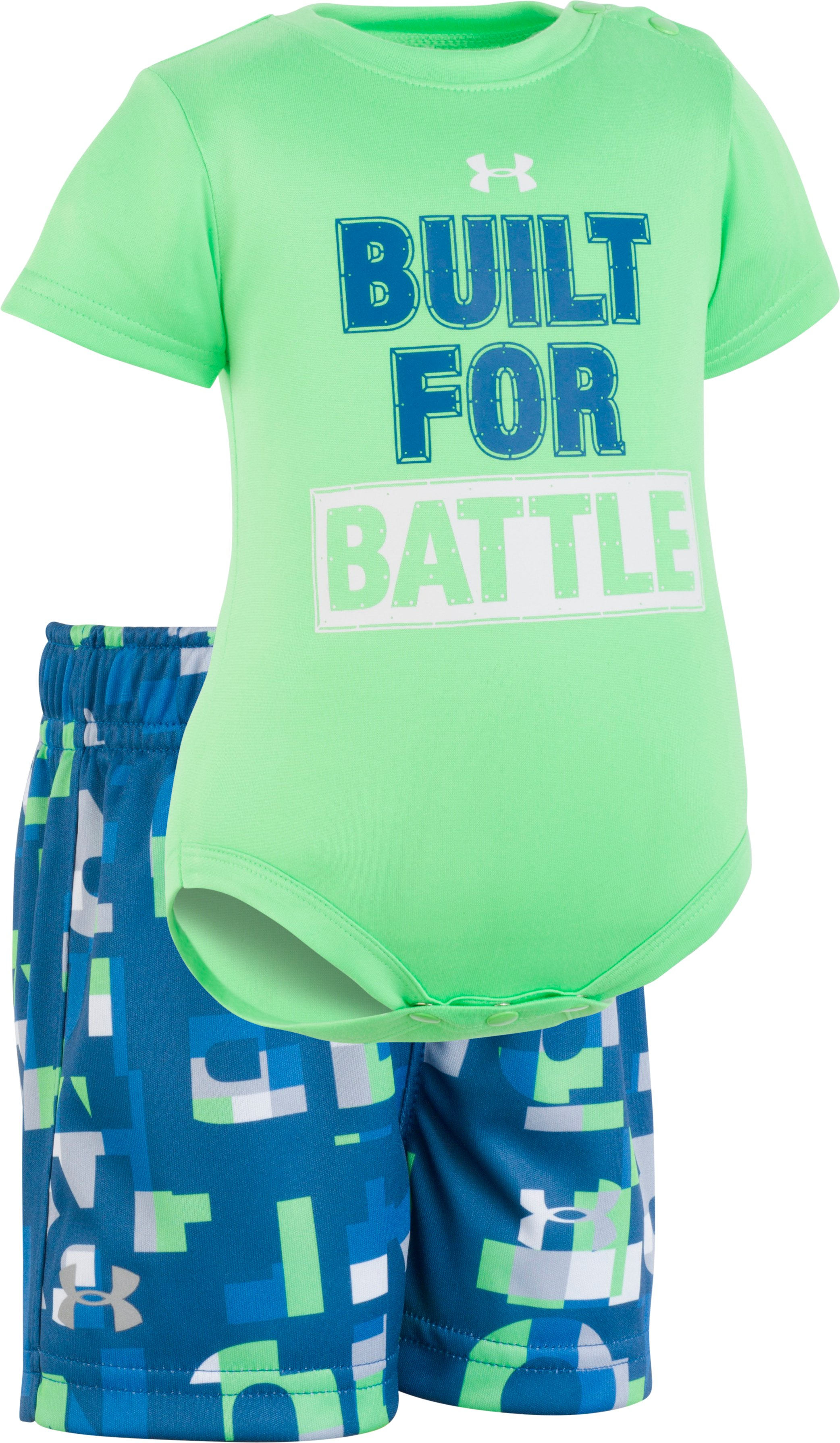 Boys' Newborn UA Built For Battle Set , Arena Green, Laydown