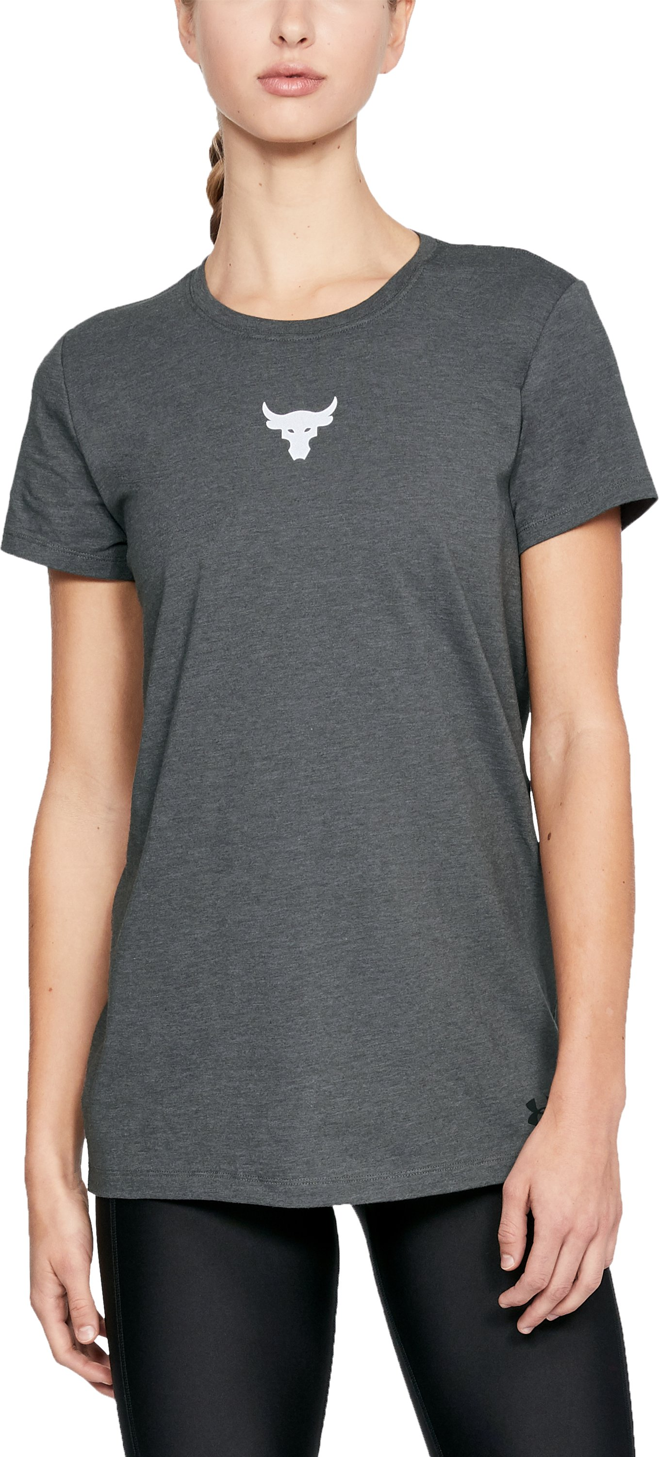 Women's UA x Project Rock Mini Bull T-Shirt, Charcoal Medium Heather, zoomed