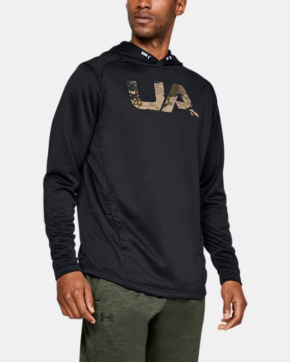 Men's UA Tech Terry Camo Fill Hoodie, Black, pdpMainDesktop image number 0