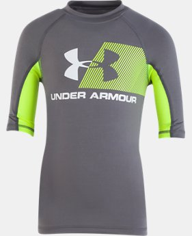 New Arrival Boys' Pre-School UA H2O Reveal Short Sleeve Rashguard  2  Colors Available $27