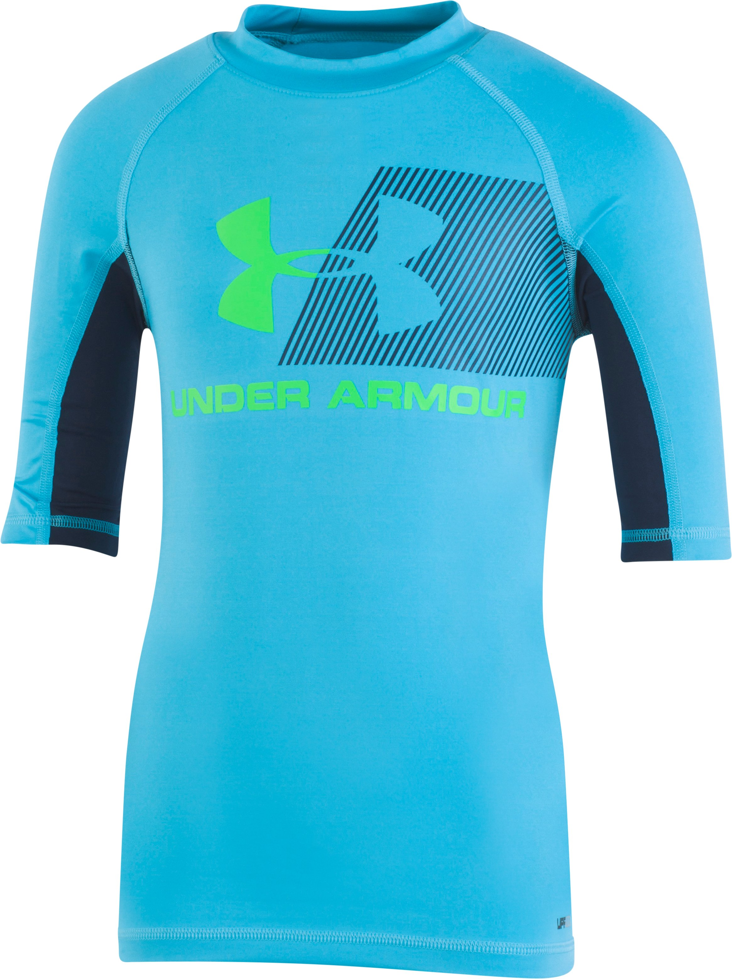 Boys' Infant UA H2O Reveal Short Sleeve Rashguard, ALPINE, Laydown