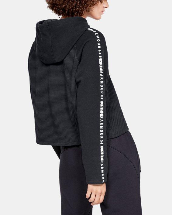 Women's UA Microthread Fleece Hoodie, Black, pdpMainDesktop image number 2