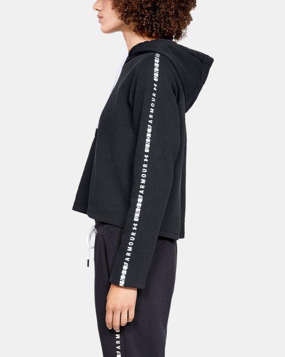 Women's UA Microthread Fleece Hoodie, Black, pdpMainDesktop image number 3