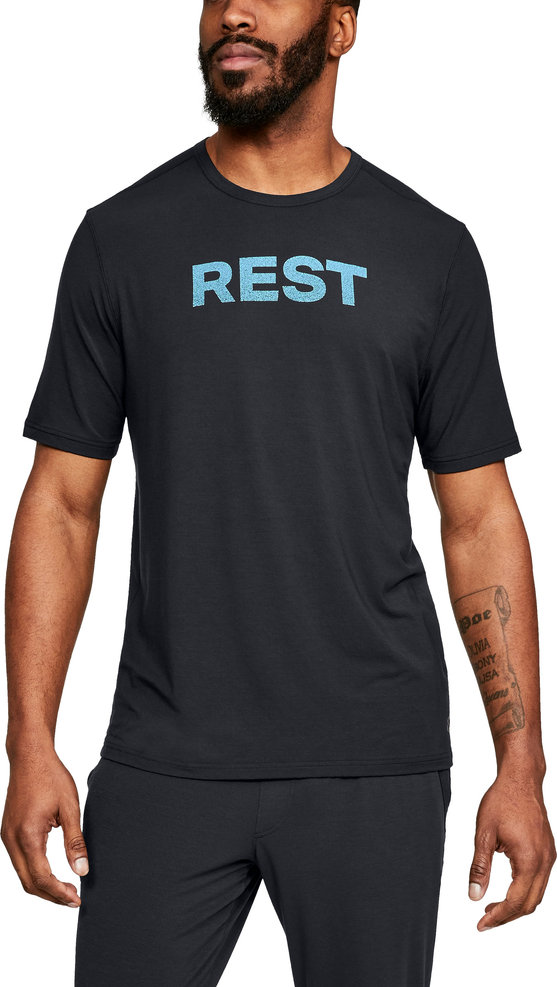 Men's Athlete Recovery Ultra Comfort Sleepwear REST Graphic T-Shirt, Black , zoomed