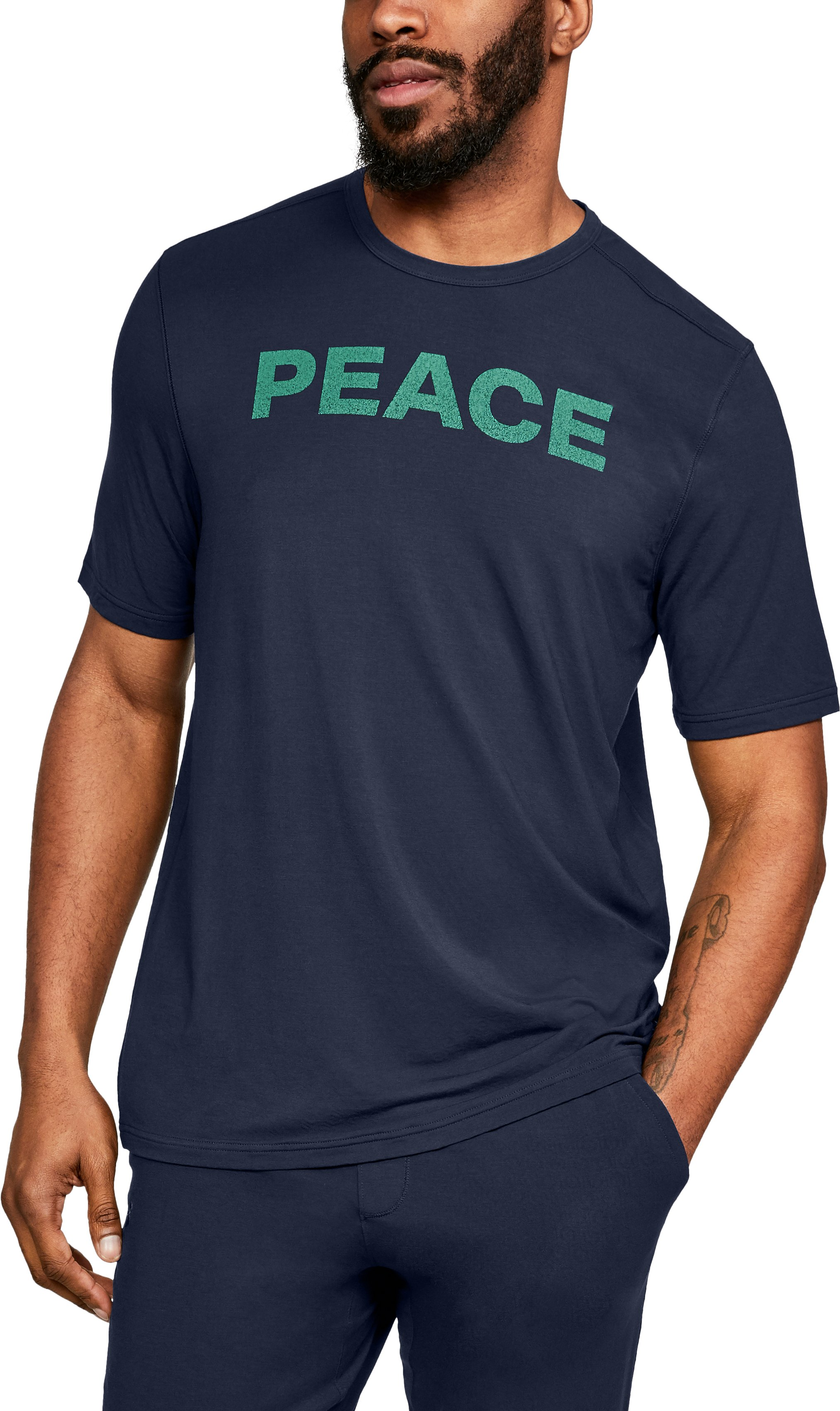 Men's Athlete Recovery Ultra Comfort Sleepwear PEACE Graphic T-Shirt, Midnight Navy, zoomed