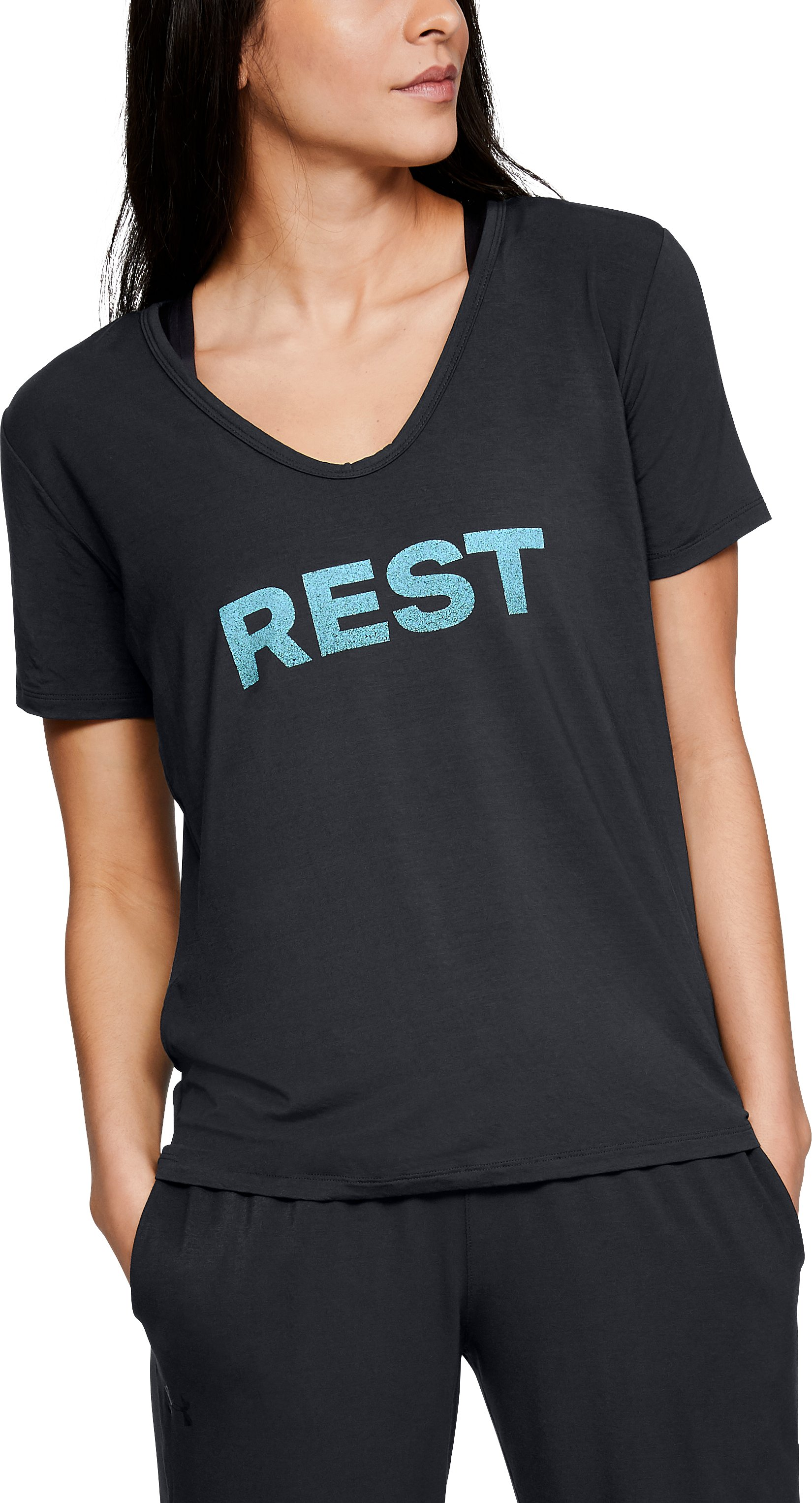 Women's Athlete Recovery Ultra Comfort Sleepwear REST Graphic T-Shirt, Black , zoomed