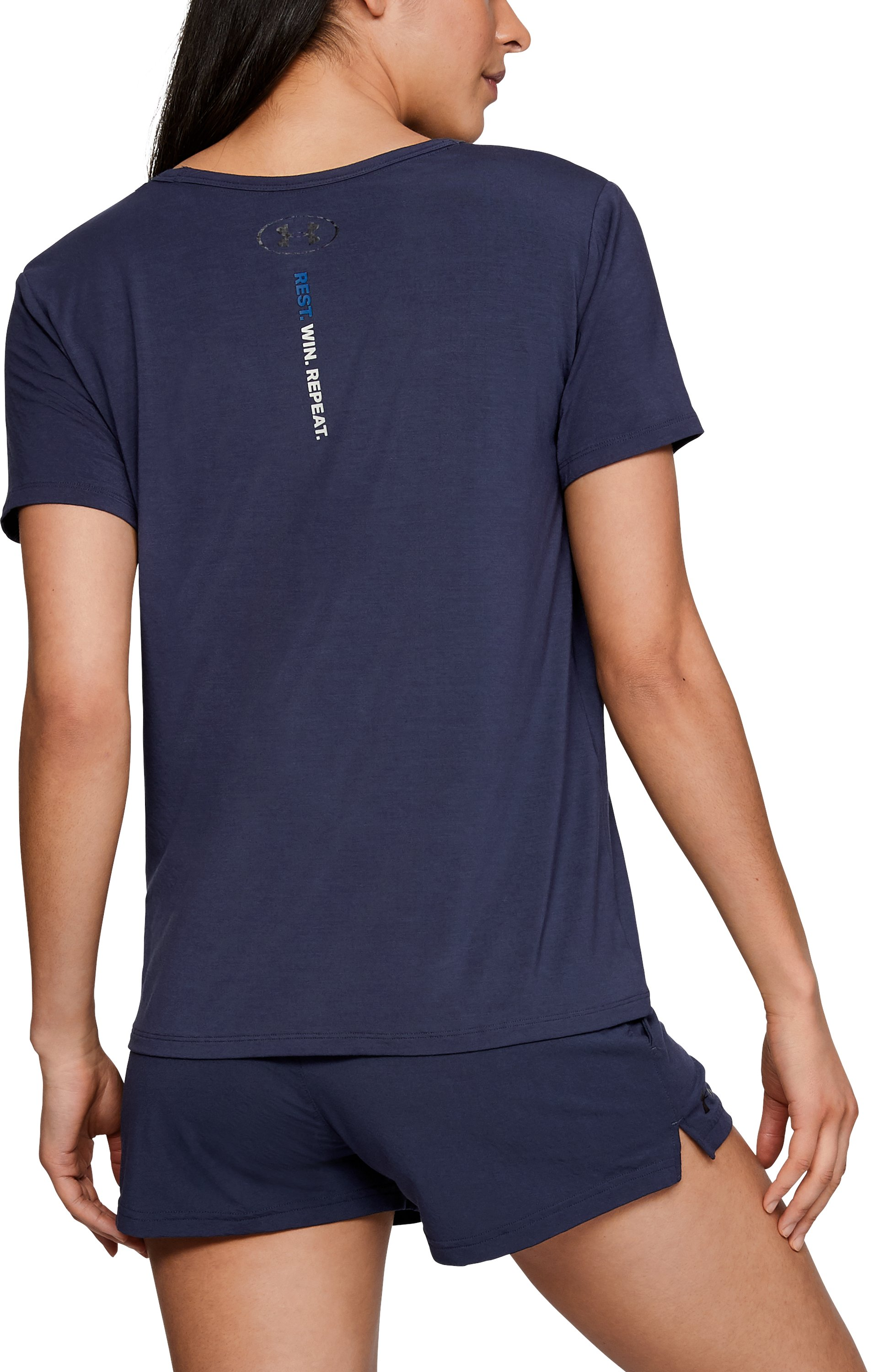 Women's Athlete Recovery Ultra Comfort Sleepwear PEACE Graphic T-Shirt, Midnight Navy,