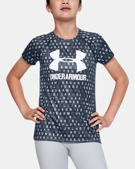 Girls' UA Big Logo Printed T-Shirt, Gray, pdpMainDesktop image number 0