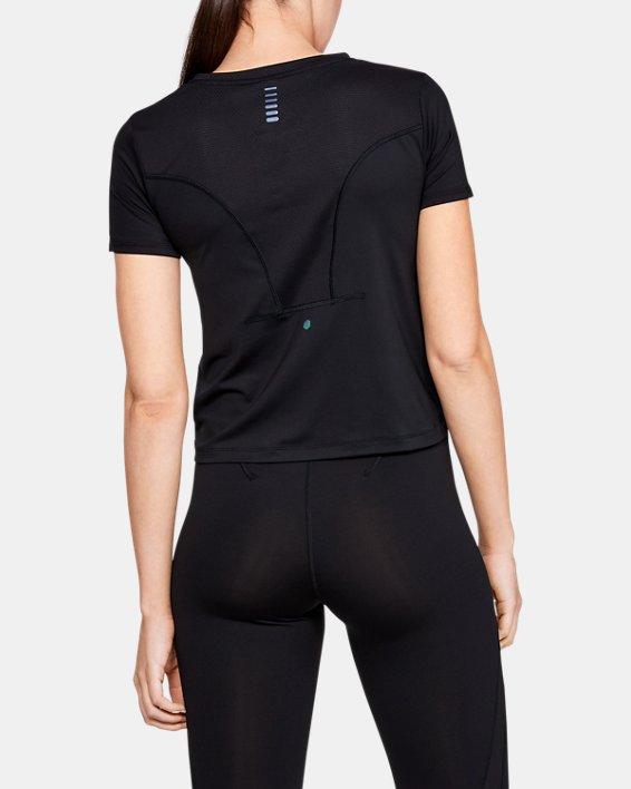 Women's UA RUSH™ Run HeatGear® Short Sleeve, Black, pdpMainDesktop image number 2