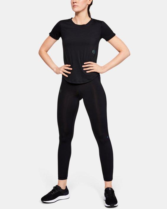 Women's UA RUSH™ Run HeatGear® Short Sleeve, Black, pdpMainDesktop image number 5
