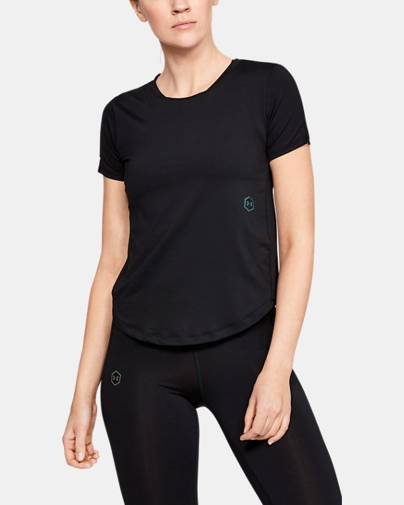 Women's UA RUSH™ Run HeatGear® Short Sleeve, Black, pdpMainDesktop image number 1