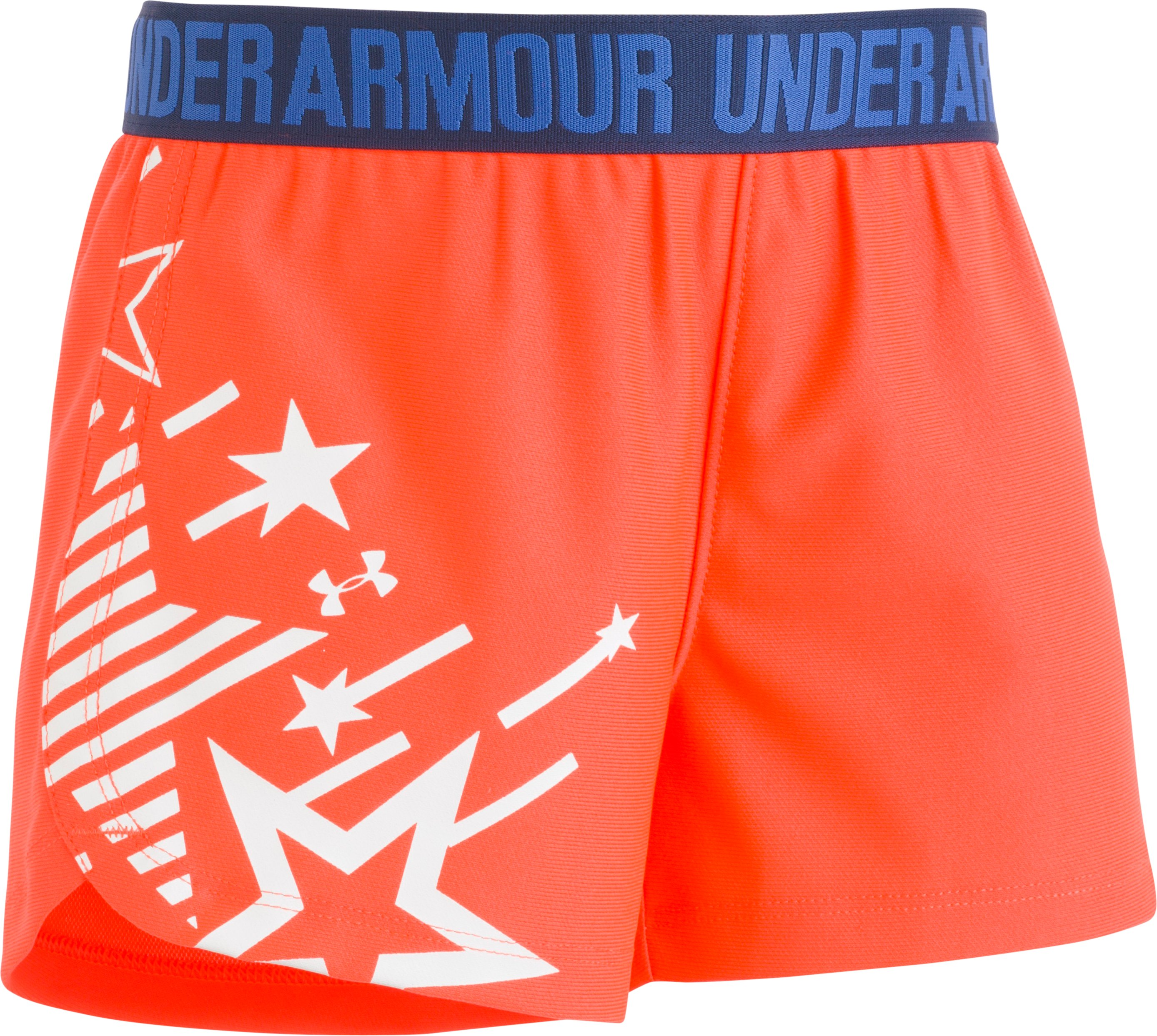 Girls' Pre-School UA Americana Play Up Shorts, NEON CORAL, Laydown